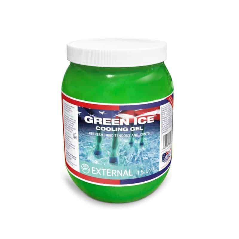Green ice cooling gel for horses
